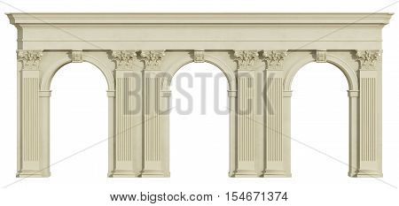Classic Colonnade Isolated On White