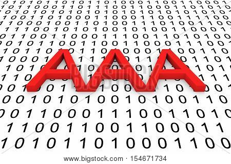 AAA in the form of binary code, 3D illustration