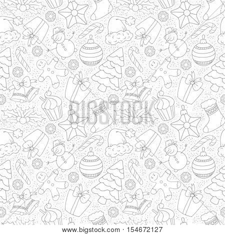 Cute Merry Christmas Seamless Pattern with Winter Holiday Symbols. Black and White, Monochrome line art design. Vector Stock Illustration.
