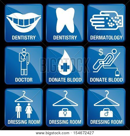 Set of Medical Icons in blue square background - DENTISTRY, DERMATOLOGY, DOCTOR, DONATE BLOOD, DRESSING ROOM