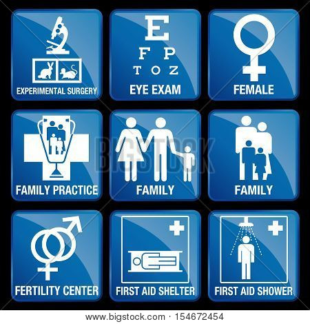 Set of Medical Icons in blue square background - EXPERIMENTAL SURGERY, EYE EXAM, FEMALE, FAMILY PRACTICE, FAMILY, FERTILITY CENTER, FIRST AID SHELTER, FIRST AID SHOWER