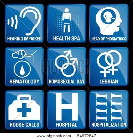 Set of Medical Icons in blue square background - HEARING IMPAIRED, HEALTH SPA, HEAD OF PHONIATRICS, HEMATOLOGY, HOMOSEXUAL GAY, LESBIAN, HOUSE CALLS, HOSPITAL, HOSPITALIZATION