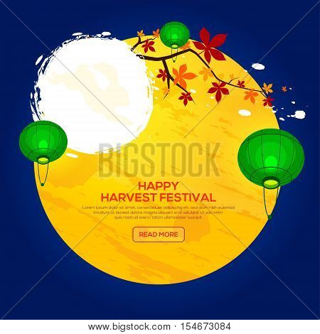 Background for Asian Harvest Mid Autumn Festival with chestnut tree and lantern. Stock vector