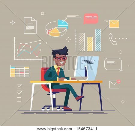 Office work concept vector with young adult black businessman working behind his computer with office process icons on background.