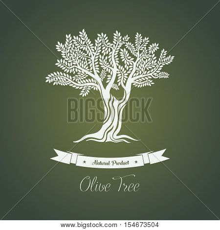 Olive tree logo with branches or greece olive tree. Tree with vegetable berry for vegetarian olive organic food.Can be used for olive oil badge or logo, olive grove banner, bottle of olive oil sticker