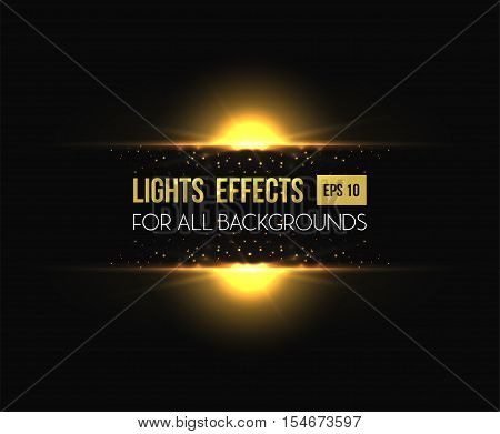 Transparent template with shiny sun, sunset or sunrise light effect. Illuminated sunshine background and glowing sun or star. For sun poster with bokeh, sunburst placard, sun light effect radiance