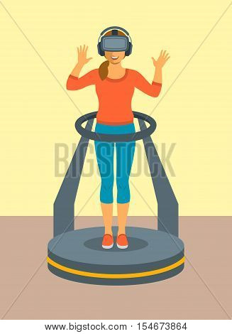 Young woman in virtual reality glasses standing on game controller platform simulator. Flat vector illustration. Virtual 3d technology devices for entertainment. Electronic gaming equipment
