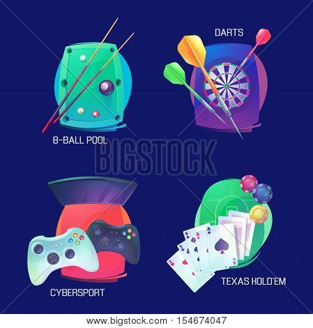 Billiard or pool, darts and video or poker game sports logo. Texas holdem or professional sport card game logo, cybersport with joystick equipment, sport throw game and casino logo, sport icons