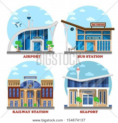 Airport and train station, seaport and bus station. May be used for bus tourism and railroad travel, airport building icon and naval seaport architecture sign, road trip theme