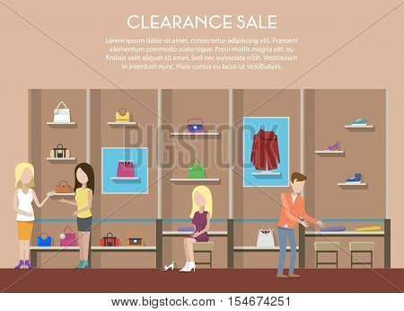 Shop with clothes or store interior, clearance sale with cloth and shoe or boots on counter for retail sale. Women or woman bag in shop interior. For retail store logo or shop badge, illustration
