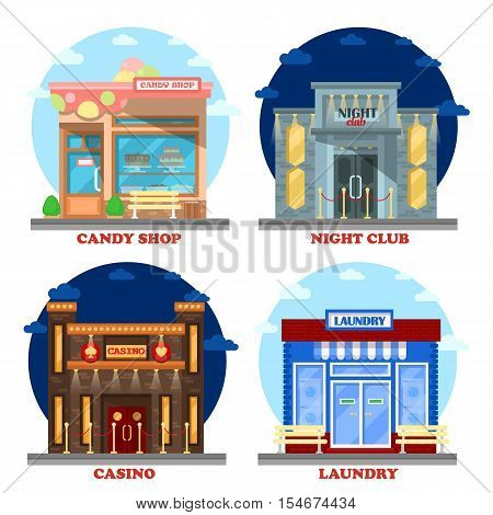 Casino building and nightclub entertainment, laundry building and candy shop or store. May be used for gambling industry, candy or confectionery shop, store exterior, gambling casino, nightclub theme