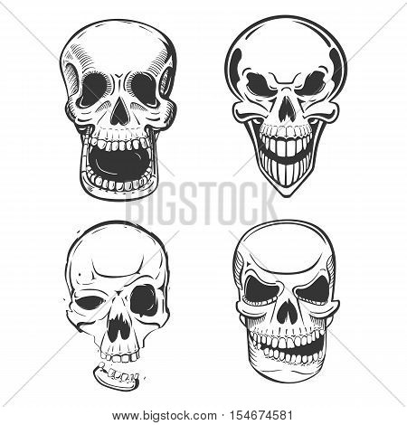 Skull vector tattoo art in sketch style. Set of terrifying skull head with jaw and smirk. May be used for skull mascot or pirate skull head isolated, horror logo or dead human icon
