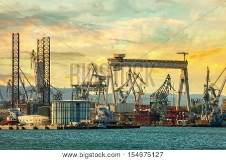 GDYNIA, POLAND - SEPTEMBER 17, 2016: 1000-ton Gantry Crane in Shipyard. One of the largest in Europe Gantry Cranes with dimensions of 106 m high, 153 m wide.