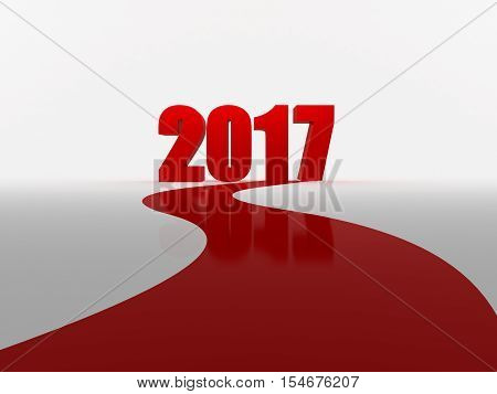 Red carpet to 2017 on white background. 3d rendering.