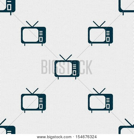 Tv Icon Sign. Seamless Pattern With Geometric Texture. Vector