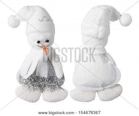 Snowman Decoration Toy Handmade Snow Man White Isolated