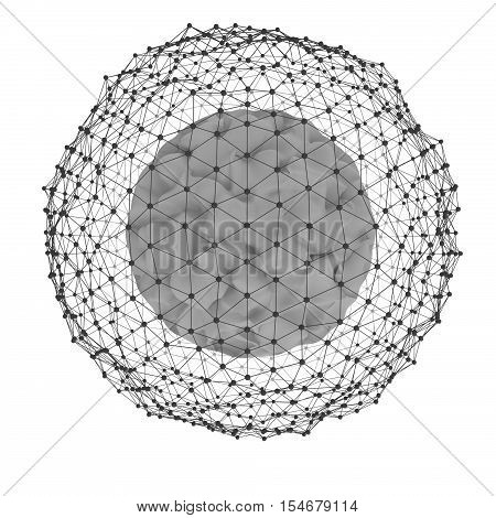 3d abstract sphere with dots, isolated on white background. Concept design. 3d redering. 3d illustration