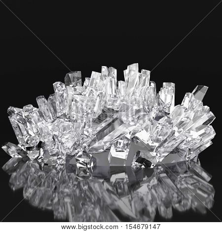 3d realistic white crystals, on a black background with reflections. 3d redering. 3d illustration