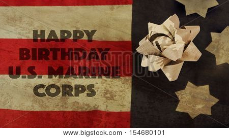 Happy Birthday US Marine Corps Flag and Camouflage Ribbon