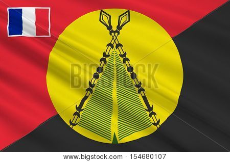 Flag of Sigave is one of the three official chiefdoms of the French territory of Wallis and Futuna in Oceania in the South Pacific Ocean. 3d illustration