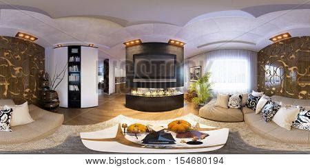 3d illustration spherical 360 degrees, seamless panorama of living room Halloween interior design. The living room is made in grey and black tones in a modren style with fireplace and decorated for Halloween