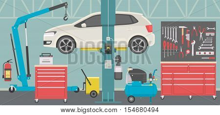 View of automobile repair shop or garage. Vector illustration