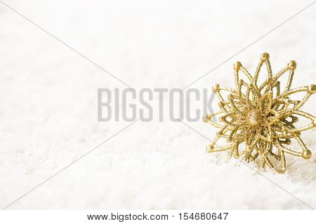 Golden Snowflake on White Background Abstract Gold Snow Flake Flower Decoration