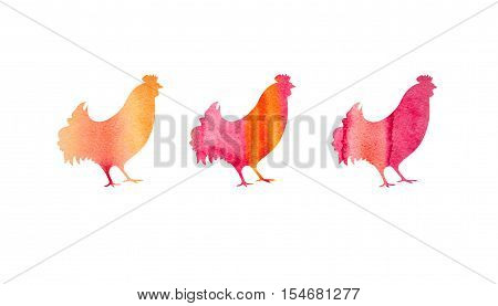 Illustration of rooster, symbol of 2017 on the Chinese calendar. Silhouette of red cock made with watercolor texture. Element for New Year's design. Background with Red Roosters.