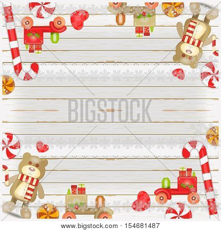 Merry Christmas and New Year Card - Holiday Frame - Christmas Toys Sweets and Xmas Symbols on White Wooden Background. Place for Greeting Text. Vector Illustration.