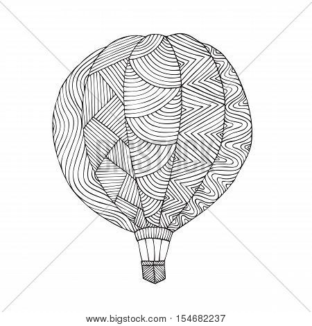 Air balloon. Coloring book page for adult. Vector illustration in the style of zentangle, doodle, ethnic, tribal design. Stylized for coloring book for anti stress for both adult and children
