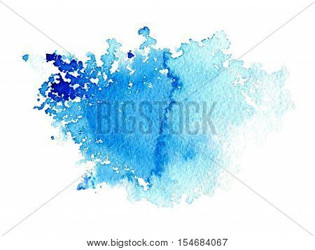 Blue watery illustration.Ink drawing.Abstract watercolor hand drawn image.Wet splash.White background.