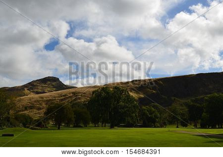 Beautiful Holyrood Park and Arthur's Seat in Scotland.
