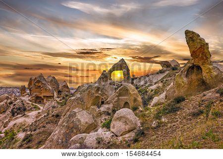 Cappadocia,Turkey. Volcanic rock landscape, Goreme national park.