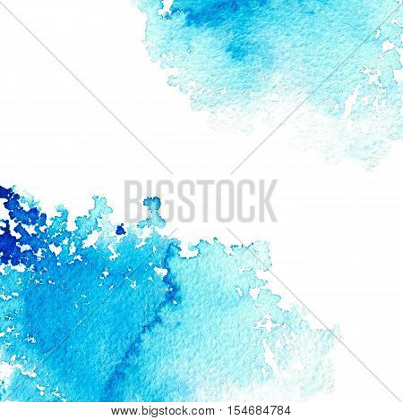 Abstract blue watery frame.Aquatic backdrop.Ink drawing.Watercolor hand drawn image.Wet splash.White background.