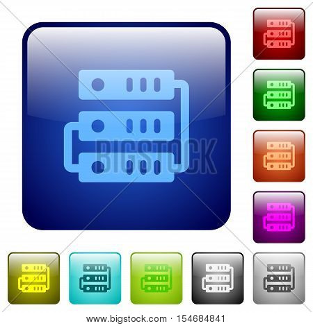 Servers color glass rounded square button set