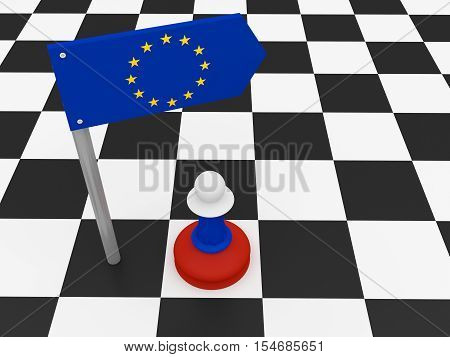 Russia And EU: EU Flag Road Sign And Russian Chess Pawn 3d illustration