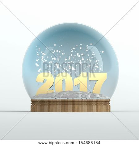 Year 2017 theme snow globe on white background. 3d illustration.