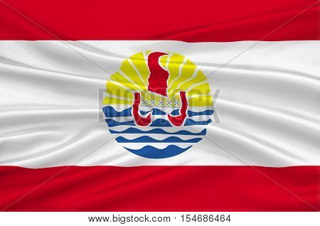 Flag of French Polynesia (France) Papeete. 3d illustration