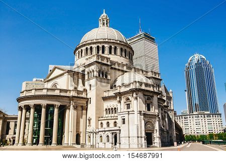 Boston's Christian Science church and Prudential building and the architecture around USA