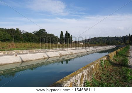 Canal Virgilio along the Mincio river banks Lombardy Italy