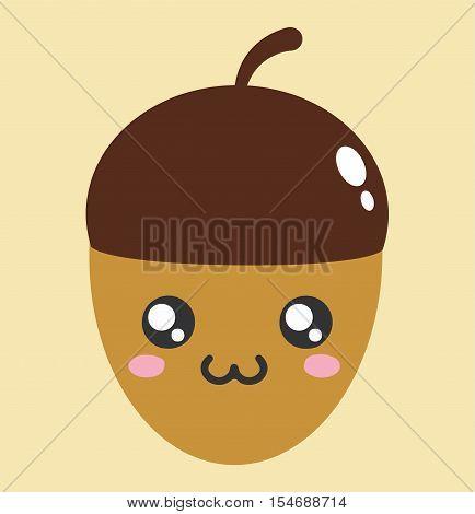 Acorn Kawaii Cartoon Cute Icon - Acorn Character Kawaii Flat Isolated Design Vector Illustration Stock
