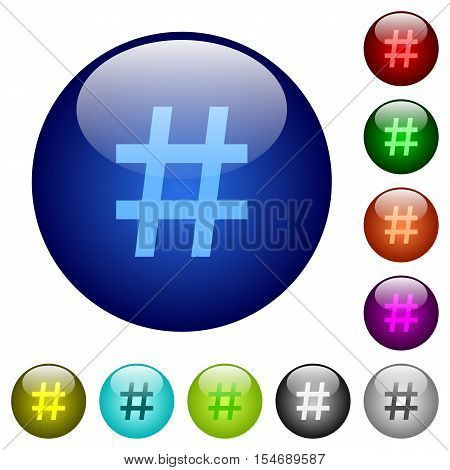 Hash tag icons on round color glass buttons
