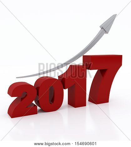 2017 arrow up on white background. 2017 text with rising arrow. 3d illustration.