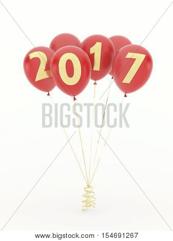 Red new year 2017 balloons on white background. 3d illustration.