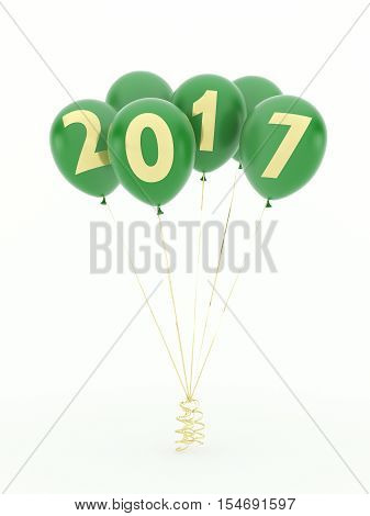 Green new year 2017 balloons on white background. 3d illustration.