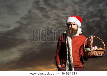Christmas Man With Balls In Basket