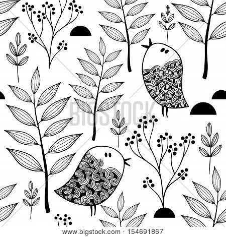 Black and white endless pattern with doodle birds in the forest. Vector seamless background for coloring.