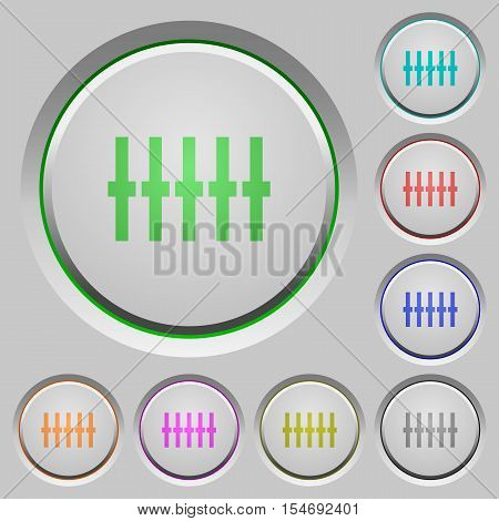 Graphical equalizer color icons on sunk push buttons