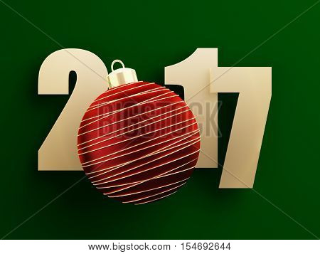 Golden 2017 text on green background with red christmas ball. 3d rendered illustration.