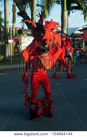 Carneval bocas del toro with red revils, the typical carnival masks in Panama